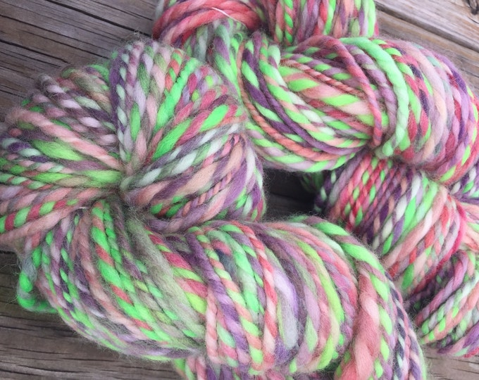 Ahoy me Beauties Handspun yarn Shetland Wool Yarn Bulky Weight Two Ply Spring pasteld 2 Ply 100 yards