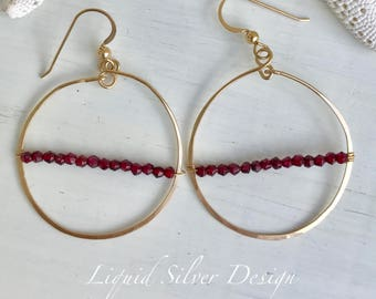 14k gold filled hammered hoop earring, delicate faceted GARNET gemstone. Made in Hawaii USA. Perfect gift gff bf beach mother bride wedding