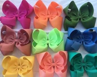 "Pick 9 Extra Large Jumbo Hair Bows - 2.25"" Ribbon - Choose Colors ~ m2m Matching Matilda Once Upon A Time Fall Holiday Chapter 1 BIG"