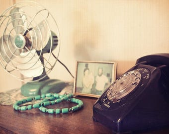 How it Became, metal fan, sea green, old photograph, rotary phone,  Fine Art Photograph, 8x10