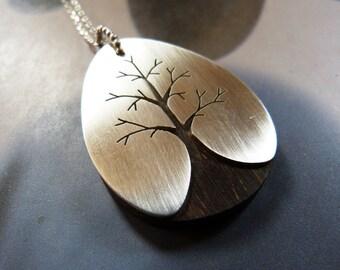 Wooden Sterling tree pendant, handcrafted necklace, handmade, metalwork, OOAK jewelry
