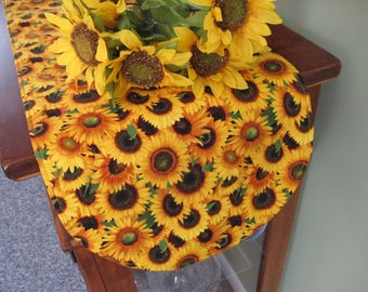 "Large Yellow Sunflower 36"" Table Runner Reversible Yellow Runner Spring Table Runner Fall Sunflower Table runner  Sunflower table decor"