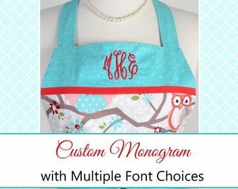 Monogram Personalized Custom Embroidery on Aprons (Embroidery Only) - Purchase Apron Separately (DP)