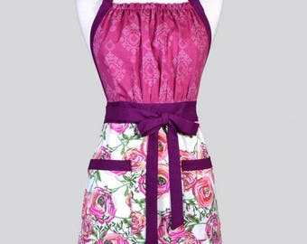 SALE Cute Kitsch Womens Apron - Berry Floral Retro Full Coverage Adjustable Vintage Style Kitchen Chef Apron with Pockets Ideal Gift for Coo