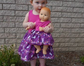 Matching Girl and Doll Dress Set with Bunnies