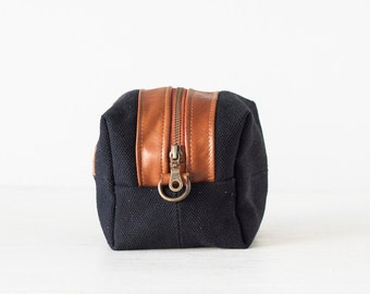 Cosmetic bag in black canvas and brown leather, toiletry case accessory bag utility bag zipper pouch  - Cube