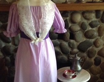 Custom Georgian Style Mary Wollstonecraft Dress with lace scarf