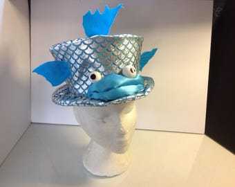 Unique OOAK Fish Top Hat Aqua Blue and Silver Small