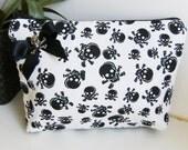 white skull fabric  purse, make up bag , crafts  , handmade,Claudia Candeias, ready to ship