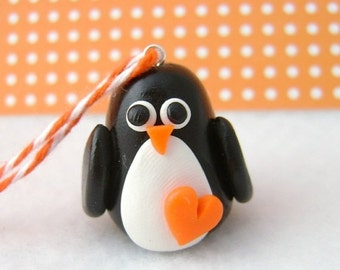 CHRISTMAS SALE Polymer Clay Penguin Christmas Ornament