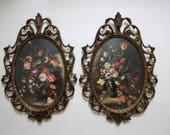 Ornate Italian Framed Floral Pictures..Antiqued Brass Framed Botanicals..Pair of Pictures..1960's..Tarnished Patina