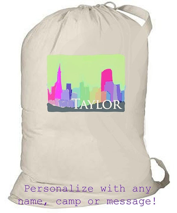Large laundry bag, monogrammed beach bag, personalized laundry bag, graduation gift, grad gift, summer camp bag, kids overnight bag, gift