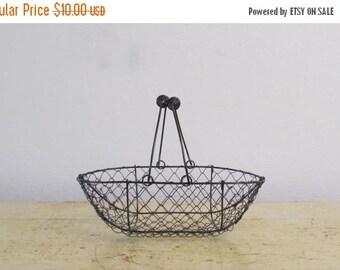 ON SALE Farmhouse Basket,  Copper Brushed, Vintage Inspired Wire Handle Basket for Craft Projects / Flowergirl Rustic  Wedding Basket