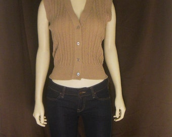 womens / sweater knit vest / loose fit top / brown / 80s / 38b / 22 length / savannahwillow