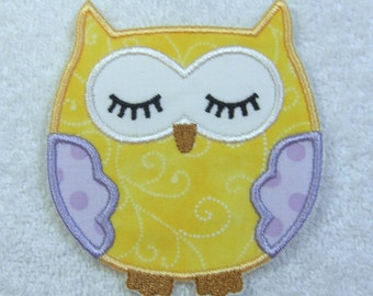 Sleepy Owl Fabric Embroidered Iron On Applique Patch Ready to Ship