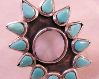 XMAS SALE Native American Turquoise Sterling MOP Ring Signed K with Crown Size 4 1/4