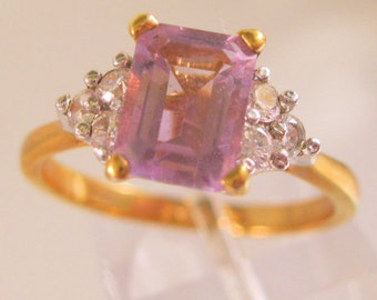 Vintage 14KT GE 1.5ct Amethyst & CZ Ring Size 9 Jewelry Jewellery