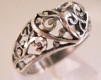 Art Nouveau Heart Ring Sterling Silver Open Work Scrolling Size 7 .5 Vintage Jewelry jewellery