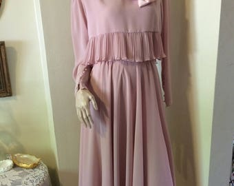 Stunning Vintage 80s Mauve Ruffle Mother of the Bride Ladies Evening Dress Wedding Size Small