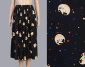 Vintage 90s Black Celestial Print Skirt | Moon and Stars Novelty Skirt | Elastic Waist Full Midi Skirt | Bohemian Gypsy Skirt | Large L