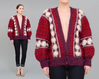 80s Cardigan, Mohair Sweater, Hand Knit Cardigan, Deep V Neck Crochet Jumper, Striped Sweater, Burgundy Purple Ivory Mohair Sweater S M L
