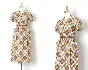 vintage 1940s dress / plaid print 40s day dress / Whispering Winds