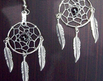 ON SALE DREAM Catcher Earrings with hematite, smaller version