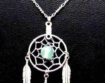 "DREAMIN in SILVER & GREEN Aventurine dream catcher Necklace in Silver with Aventurine 20"" chain"