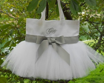 Wedding tote bag, Flower Girl tote bag, Embroidered Dance Bag - White Tote Bag with silver Ribbon Personalized Tutu Tote Bag - TB2713 E