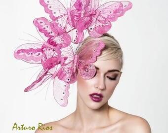 Beautiful pink butterflies headpiece, derby fascinator, kentucky derby hat