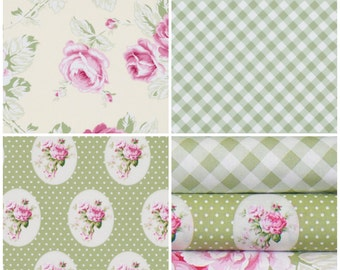 SALE!!! 3 YARD bundle  ..Sunshine Roses by Tanya Whelan.. 3 prints Green and ivory colorway