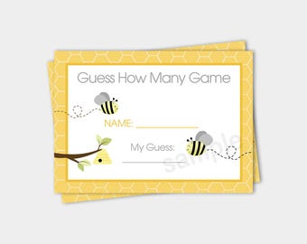 Gray and Yellow Bumble Bee Guess How Many Baby Shower Game / Gender Neutral Baby Shower / INSTANT DOWNLOAD bs-157