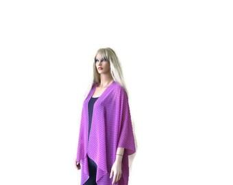 Mauve Polka dot Boho Kimono- with tiny polka dots -Lagenlook style-Kimono cardigan -  Chiffon summer collection