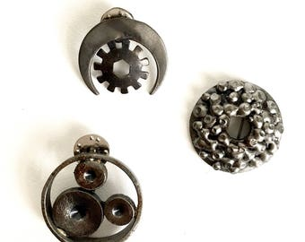 Sculpture Brooches/Art Brooches/Recycled Steel Brooches