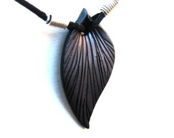 Sculpted Leaf Pendant, Lavender on Black, Purple Highlights, Polymer Clay Pendant, Black Cord, Silver Plated Wire, Customizable