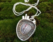 RESERVED - Art Jewelry - Anatomical Heart w Fordite -  Detroit Inspired - Hand Sculpted in Fine Silver