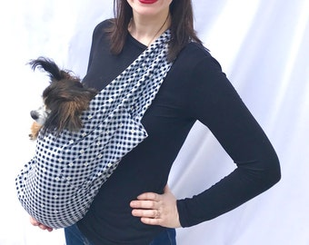 Pet Sling Carrier Black anf White Gingham with Daisys