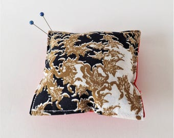 Recycled Fabric Swatch, Scrap and Offcut Pin Cushion with Eco Friendly Wadding, Sustainable Haberdashery Supplies Feather Print.