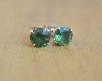 Sterling Silver Studs, Apatite Studs, Green Gemstone Studs, Silver Post Earrings, 6mm Apatite Earrings, Six Prong Stud Earrings