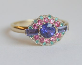 White Gold Gemstone Ring, Sapphire Ring, Paraiba Tourmaline Ring, Mahenge Spinel Ring, Blue Pink Ring, Grace Ring, Halo Ring Colored Gems