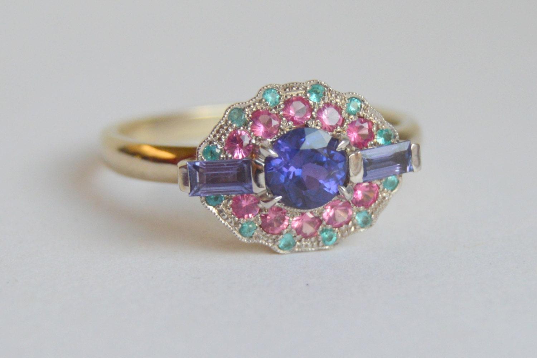 White Gold Gemstone Ring Sapphire Ring Paraiba Tourmaline