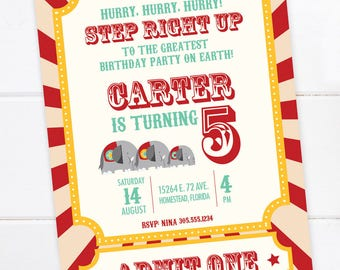 Circus Birthday Invitation, Ringmaster, Carnival Party, Circus Birthday Party, Carnival Birthday, Big Top Party, PRINTABLE