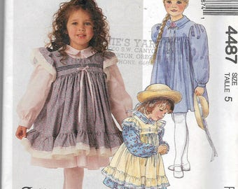 Uncut, Child Size 5, Sewing Pattern, McCall's 4487, Dress, Fancy, Pinafore Apron, Ruffles and Lace for McCalls, Girl, Kids, Children, Party