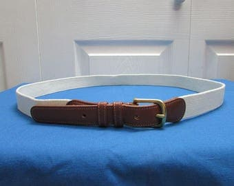 Vintage Coach Mens Off White Natural Linen With Leather Belt With Solid Brass Buckle Size 40