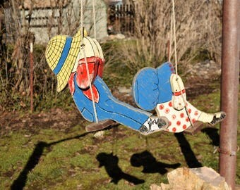 Vintage Whimsical Wooden Handmade Boy and Girl - Each on a Swing Yard Art