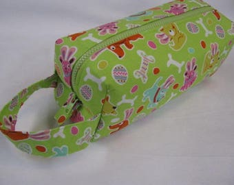 Easter Dog - Surprise embroidery Inside - Cosmetic Bag Makeup Bag LARGE