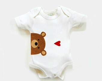Organic Baby Bear Bodysuit : Organic Baby Shower, Organic Bodysuit, Baby Boy Gift