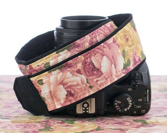 Roses dSLR Camera Strap, Vintage Pink and Gold Roses, SLR, 041
