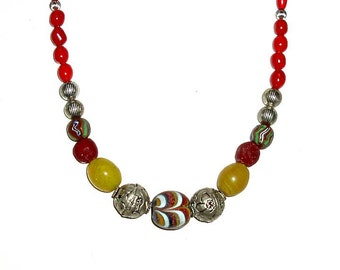 "TIBETAN repoussee, INDONESIA zigzag,BOHEMIAN Hummingbird egg 17 1/8"" necklace,red,silver,yellow,raspberry,rust,black,green,Ghana krobo,coral"