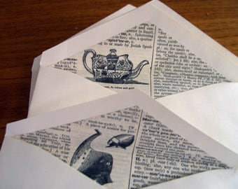 Writers envelopes.  Set of 12 A6 envelopes lined with dictionary papers.